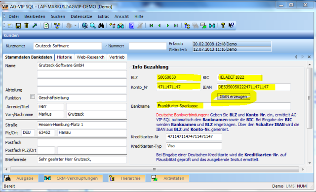 Q: Grutzeck-Software – SEPA ready - CRM Software AG-VIP SQL